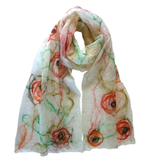 Handmade merino Scarf The Norfolk Rose by Mimi Pinto on Amazon UK