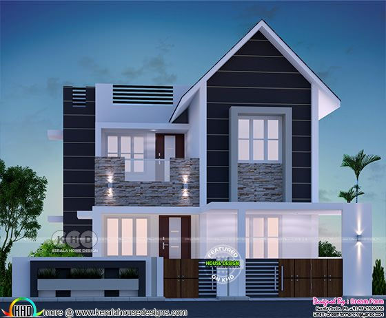 3 bedroom modern style beautiful Kerala home 1400 sq-ft