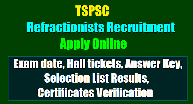 tspsc Refractionists recruitment 2017,Refractionists online application form,Refractionists hall tickets answer key,selection list results,exam pattern,selection procedure