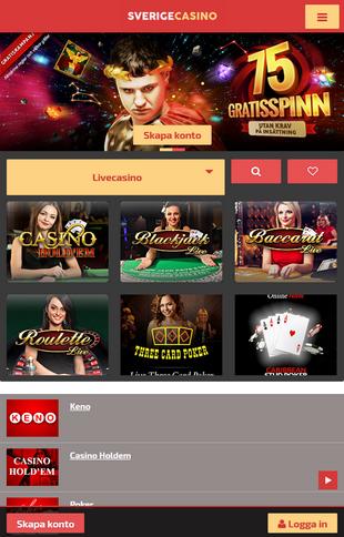 SverigeCasino Games Screen