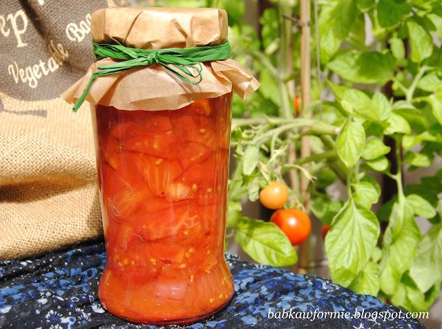 przetwory na zimę bardzo łatwe pomidory babkawformie.blogspot.com