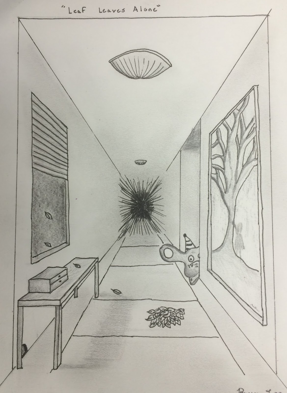 Living Room Line Drawing: Project ART-A-DAY: Lesson: Linear Perspective MONSTER ROOMS
