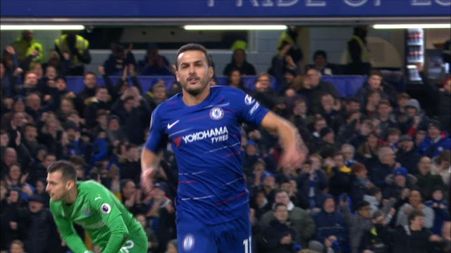 Chelsea Pedro Celebrates goal against Newcastle United