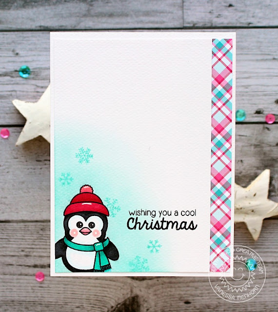 Sunny Studio Stamps: Bundled Up Penguin Cool Christmas Card by Vanessa Menhorn.