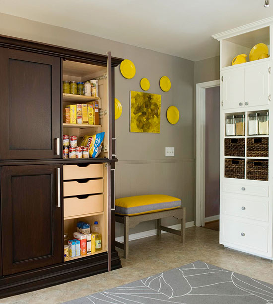 Repurposed Armoire Pantry An Inexpensive Serves As A Unit In This Small Kitchen New Built Shelves And Drawers Add To The Functionality