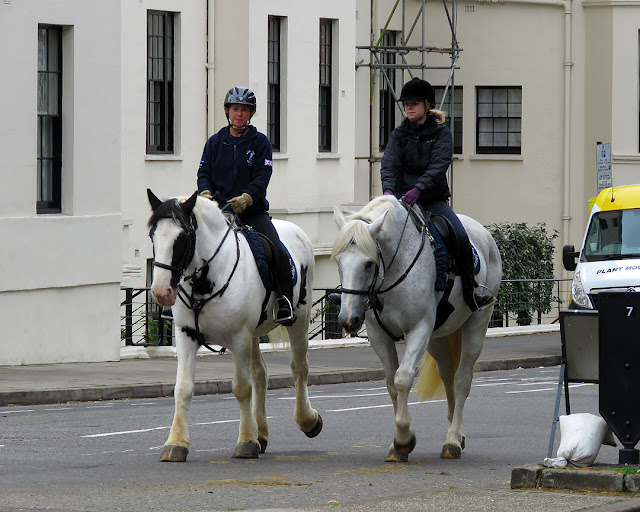 Horse riders in Stanhope Terrace to Sussex Square, City of Westminster, London