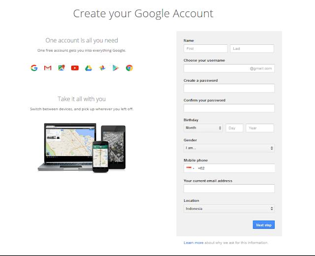 Halaman Mengisi Identitas Daftar Gmail