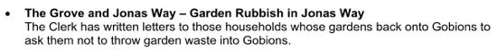 Screen grab of council minute 59 about the tipping of garden waste in Gobions Open Space