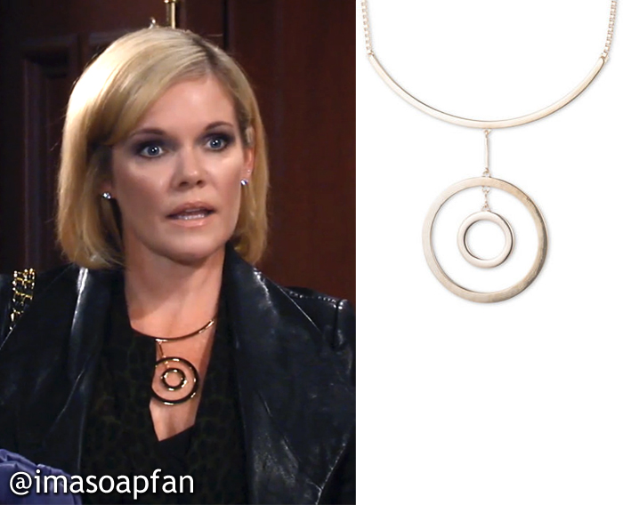Gold Concentric Circle Pendant Necklace, Anne Klein, Ava Jerome, Maura West, General Hospital, GH