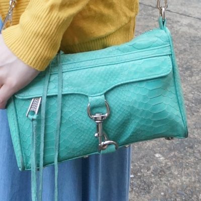 rebecca minkoff mini MAC bag in aquamarine python embossed leather | awayfromtheblue