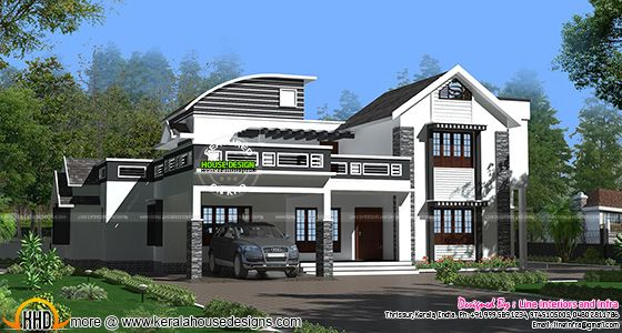 Contemporary style mixed roof house
