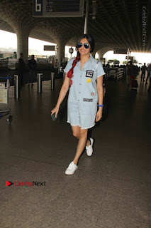 Bollywood Actress Model Adah Sharma Spotted at the Airport in a Denim Dress  0004.jpg