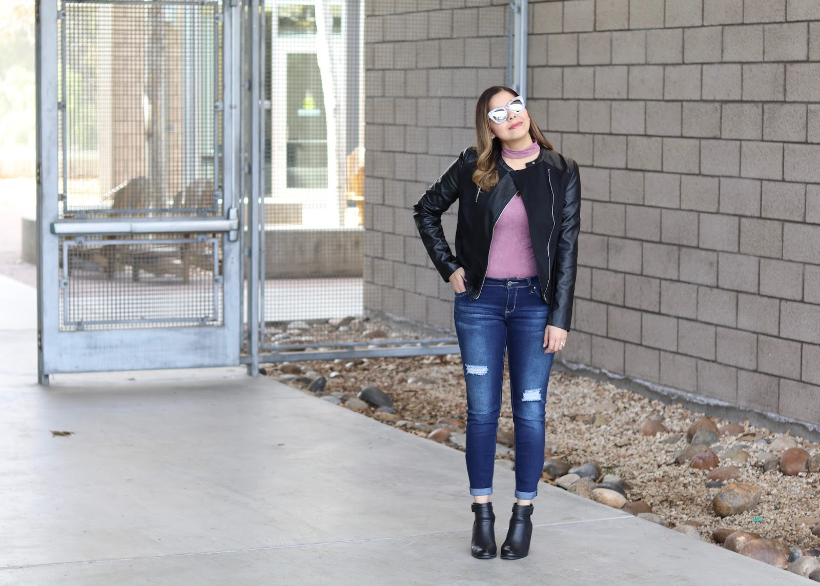 jean outfit with some edge, what to wear in your 30's, agaci outfit