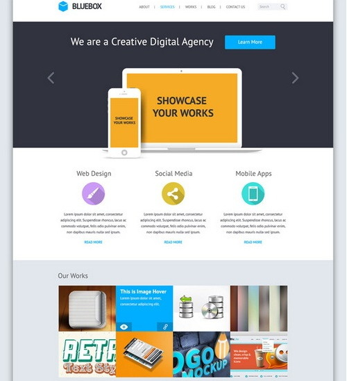 BlueBox Flat Website PSD Templates Design