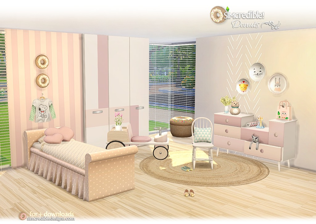 My sims 4 blog donuts kid 39 s bedroom set by simcredible for Bedroom designs sims 4
