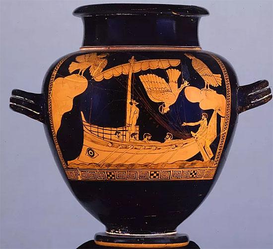 Vaso com gravura de Navio Grego do Museu Britânico