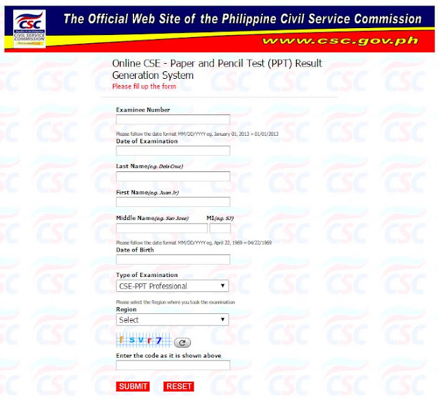 May 2015 Civil Service Exam Rating (Online CS Test Result) now - civil service exam application form