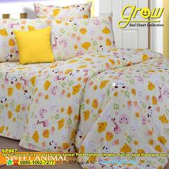Sprei Custom Katun Lokal Sweet Animal Putih Pattern Karakter Kartun Anak Kuning Lemon