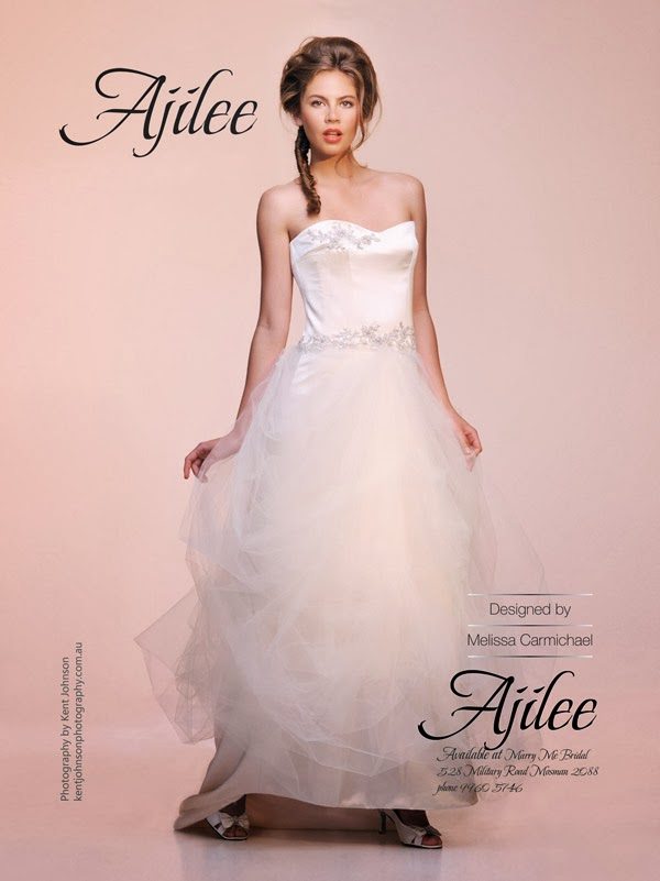 Ajilee Bridal Gowns Advertising Launch in Bride to Be Magazine - Final image. Photography by Kent Johnson.