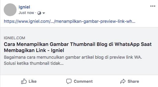 Cara Memunculkan Gambar Artikel Saat Posting Link di Facebook