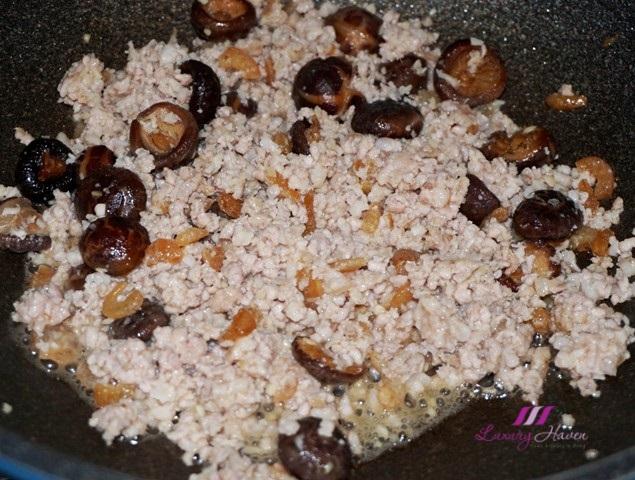 minced pork chinese mushrooms recipe