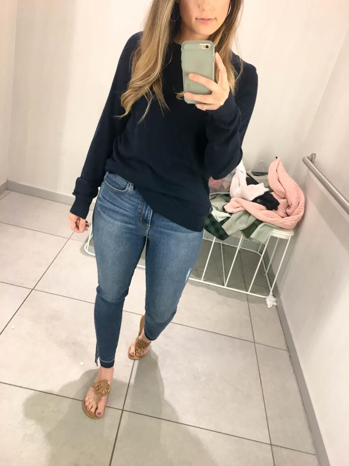 navy h&m fine knit sweater, fall outfit 2017, amanda sumner, the girlish blog, girl(ish), sc fashion blogger