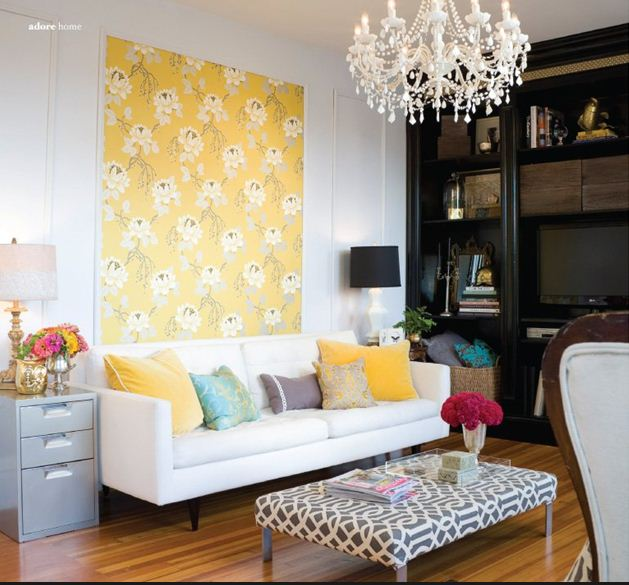 yellow and pink living room with gray