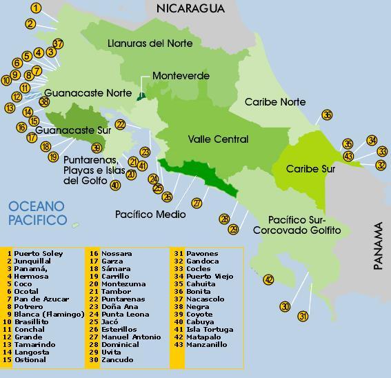 Mapa De Costa Rica Playas.Zonas Turisticas De Costa Rica Playas