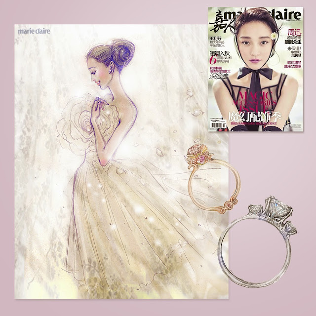 Ben Liu's art for Marie Claire China 嘉人, Bride fashion and beauty illustration, wedding rings and dress, ZhouXun on the cover story