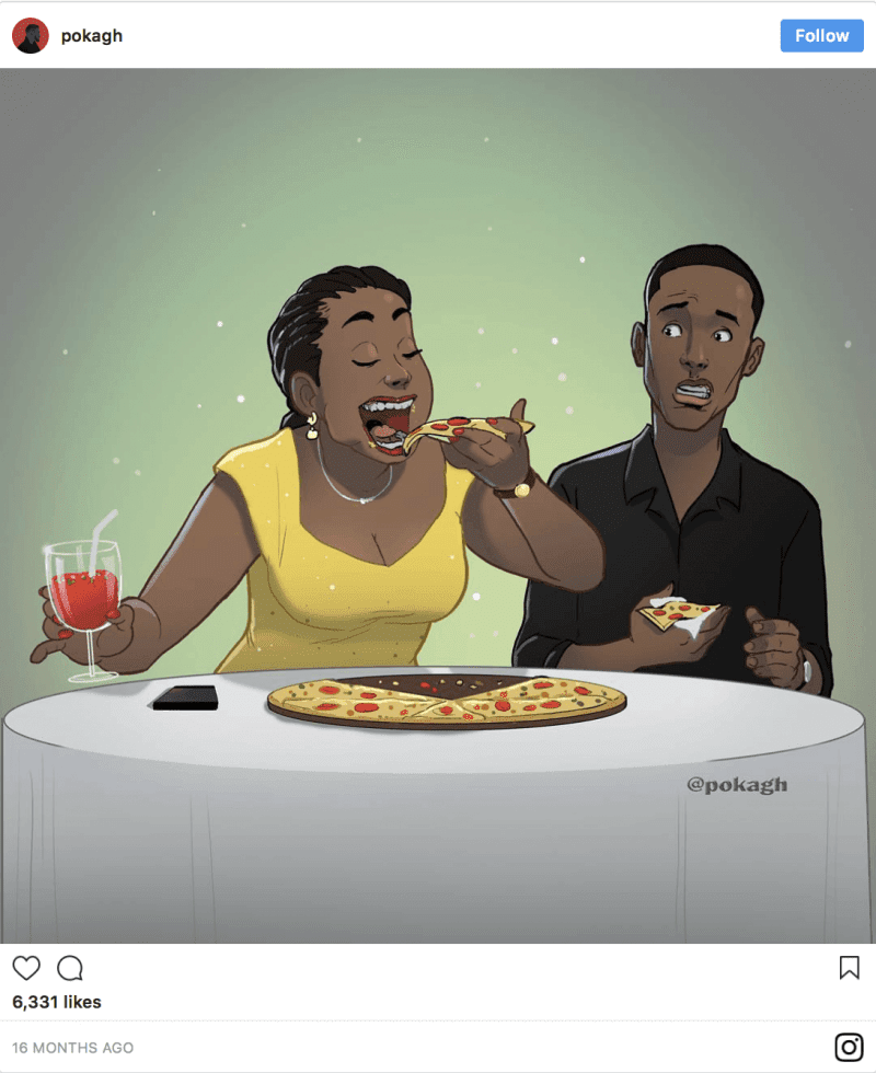 12 Beautiful Illustrations By Ghanaian Artist That Portray The Ups And Downs Of A Relationship - A good chunk of every relationship is spent eating, right