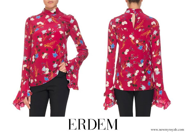 Crown Princess Mary wore ERDEM Lindsey Floral Mock-Neck Ruffle-Sleeve Top