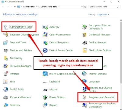 Cara Menyembunyikan Item Control Panel Tertentu Di Windows 10