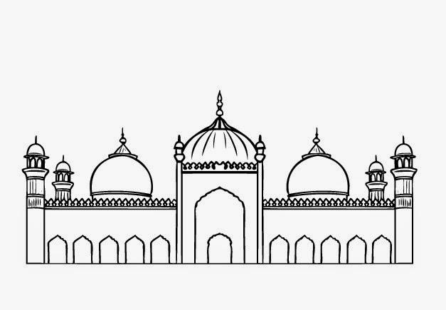Sketsa Mewarnai Gambar Masjid Dela Pradnya