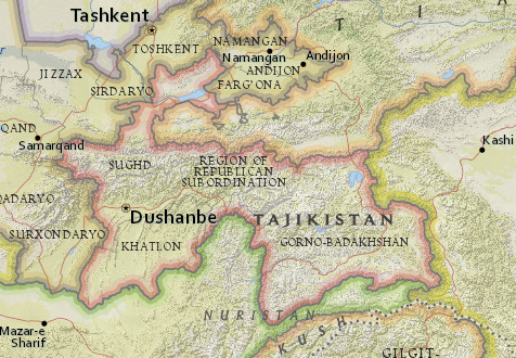 Map of Tajikistan from National Geographic MapMaker Interactive
