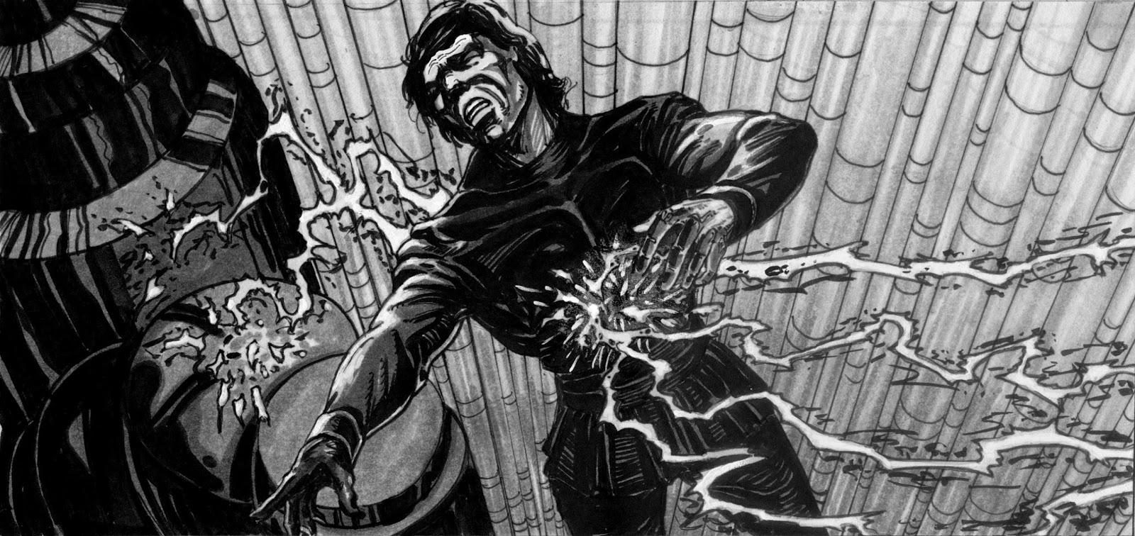 luke emperor force lightning story board star wars