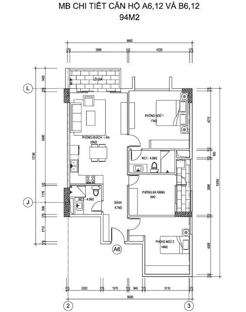 Thiết kế căn hộ A - B căn 6 - 12 chung cư Thống NHất Complex