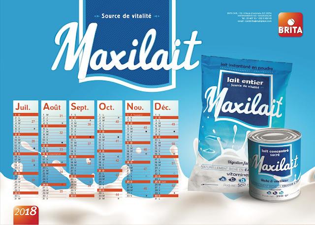 création calendrier plateau Maxilait 2018, verso