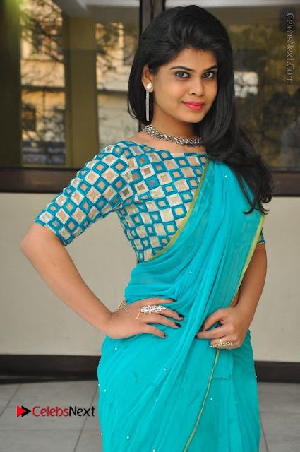 Telugu Actress Alekhya Stills in Green Saree at Swachh Hyderabad Cricket Press Meet  0019.JPG