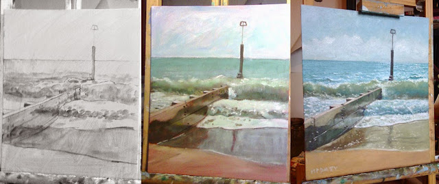 WIP of the groyne on Bournemouth Beach in stages - artist Martin Davey
