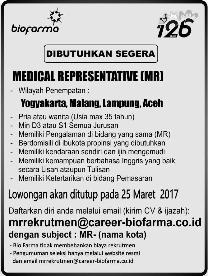 Lowongan Kerja Bio Farma Medical Representative (MR) Tahun 2017