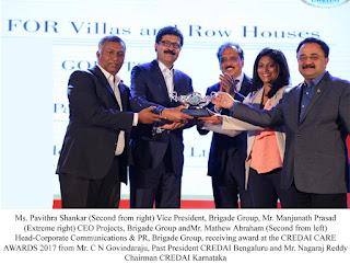 Brigade wins two Awards at CREDAI Karnataka's CARE Awards 2017.
