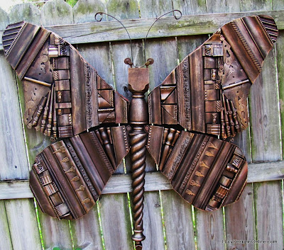 butterfly art, metal look recycled art