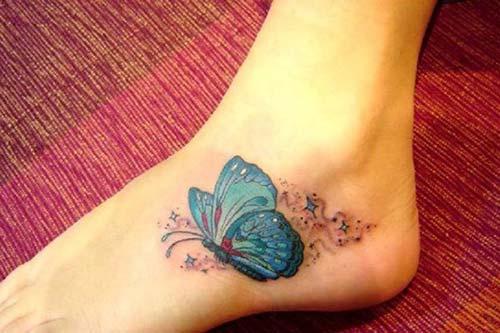 ankle butterfly tattoo ayak bileği kelebek dövmesi