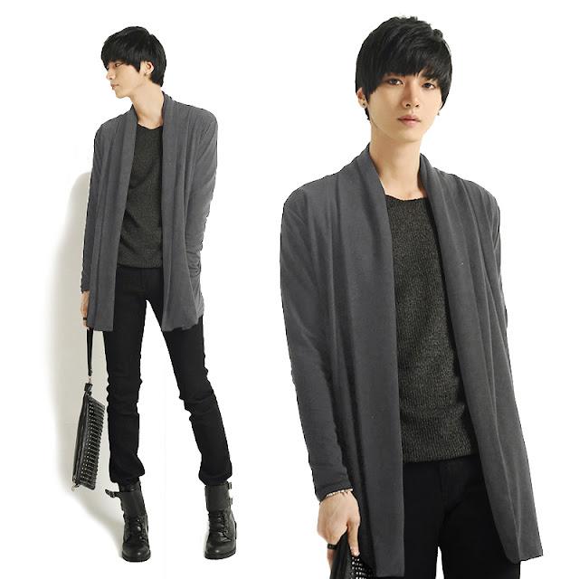 Model Cardigan Panjang Pria Korea Warna Hitam Murah