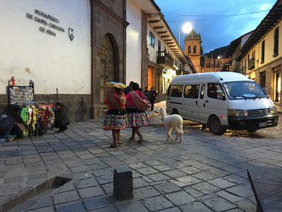 Cusco. Perú. Mujer traje típico y llama