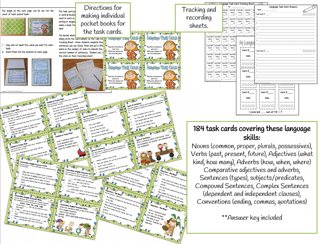 Language Task Cards---Crockett's Classroom