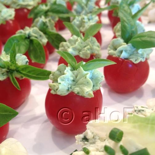 Pesto Cream Filled Cherry Tomatoes