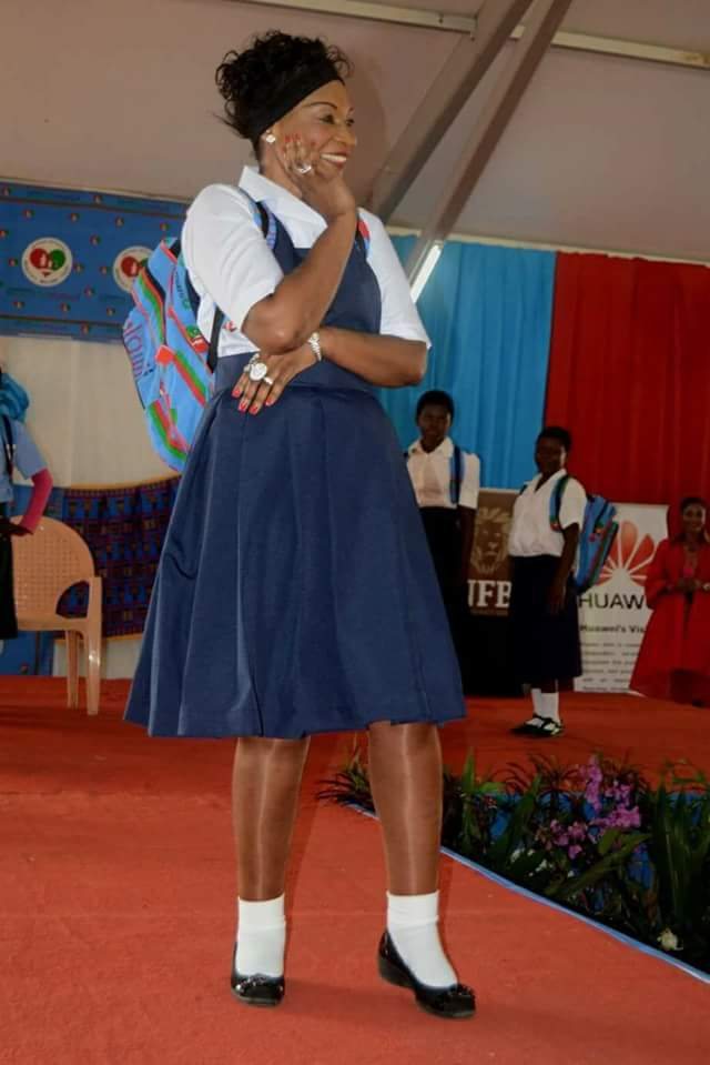 Photos: Malawi First lady, Getrude Mutharika wears school uniform to encourage girl education