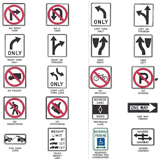 Mandatory Signs, Cautionary Signs, Informational signs