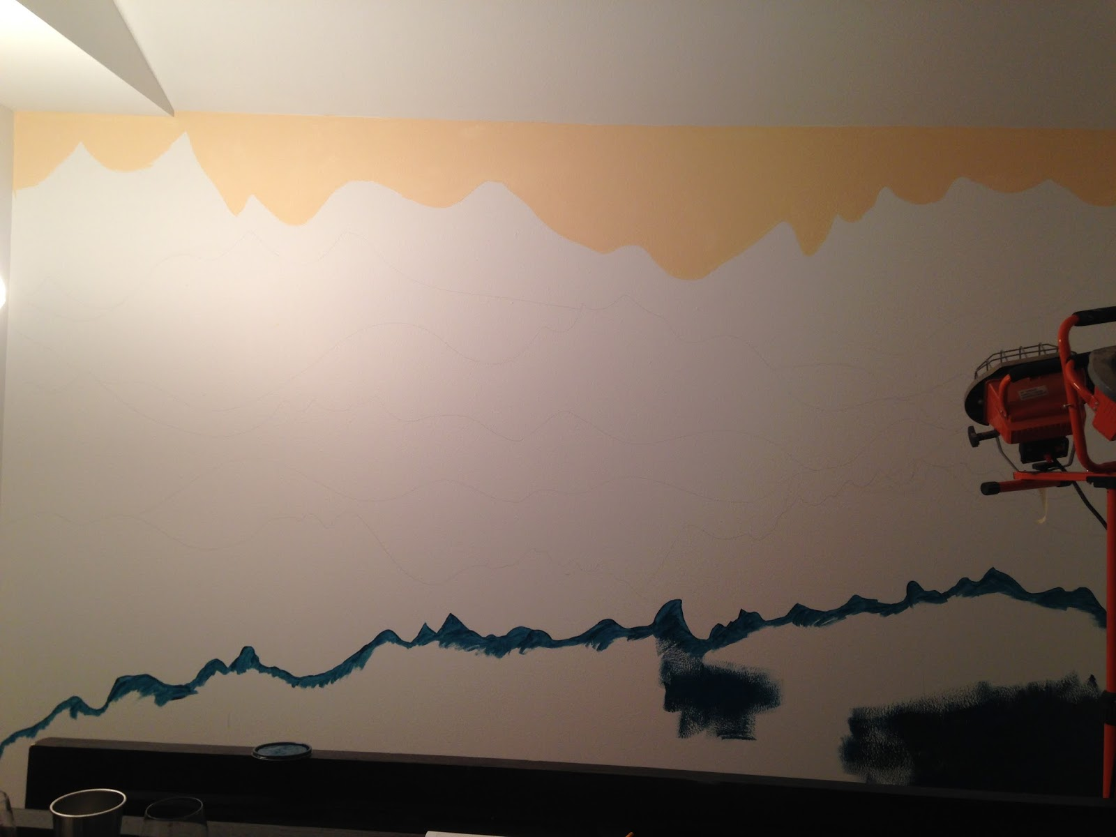 An adventurous life how to paint a mountain mural for Airbrush mural painting